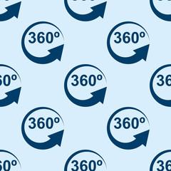 Icono plano patrón con 360 grados sobre fondo azul claro