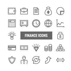 Set of finance and money linear icons.  Thin vector icons for mobile apps, web and print design