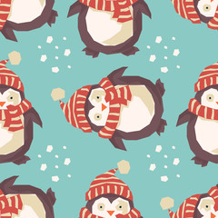 Christmas penguins, happy