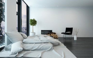Spacious modern bedroom with sparse furnishings