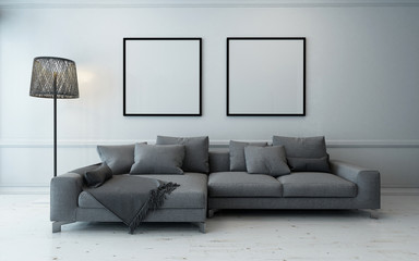 Spacious living room with grey couch and lamp