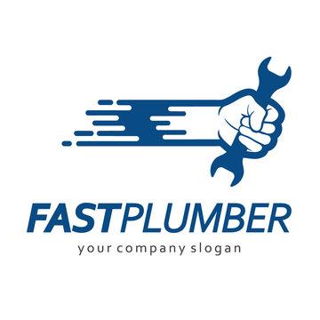 Flat logo design for plumbing company.