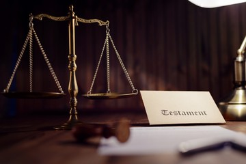 Testament and Last Will on old desk
