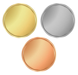vector round empty textured gold silver bronze medals.  It can b