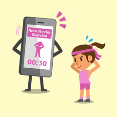 Cartoon smartphone helping woman to do neck flexion exercise