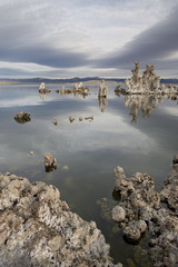 Tufa formations at dawn, Mono Lake, California, United States of America, North America