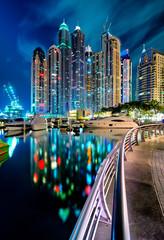 Tallest residential panorama by night. Dubai marina, United Arab Emirates.