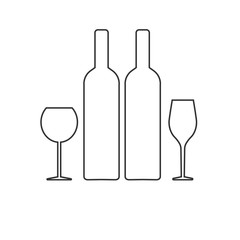 wine set, bottle and glass of wine. white and red. vector illustration.