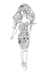 Vector illustration.Woman in flowers.Silhouette of a woman with long hair