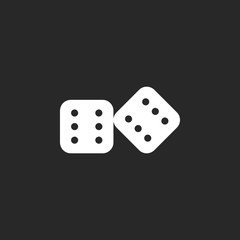 Lucky dice sign icon on background