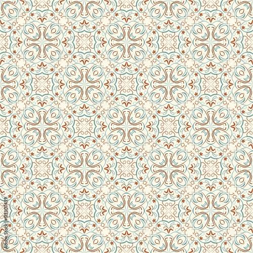 Fine Oriental Patterns In Natural Soft Colors Seamless Filigree Geometric