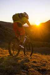 mountain biking sunset