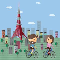 tourist ride bicycle at japan