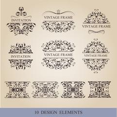Calligraphic elements vintage set . Vector frame ornament