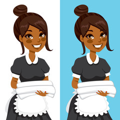 African American hotel service woman housekeeping worker holding white towels and bedclothes in two different background