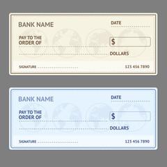 Bank Check Template Set. Vector