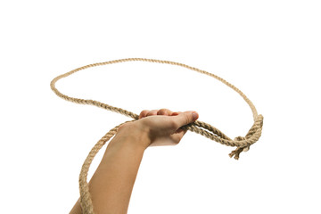 The hand throws a lasso on white, isolated background