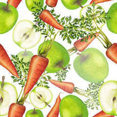 Seamless pattern of apples and carrots