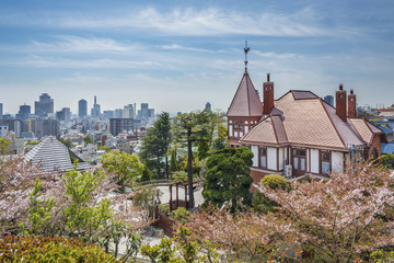 Kobe, Japan skyline from the Kitano District.