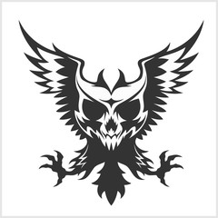 Black eagle and skull