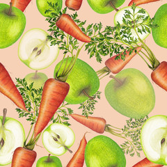 Hand drawn seamless pattern of fruits and vegetables