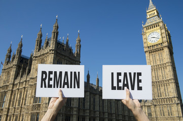 Hands holding leave and remain signs for the referendum on the United Kingdom's membership of the European Union Brexit campaign in front of Houses of Parliament at Westminster Palace, London