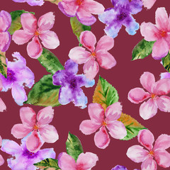 background cherry blossom. seamless pattern. watercolor illustra