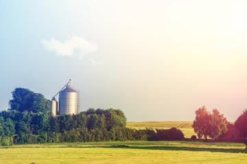 Silo facility on a countryside field