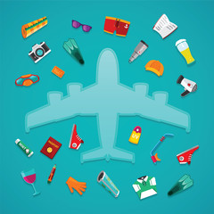 Airplane travel & tourism vector concept in flat style
