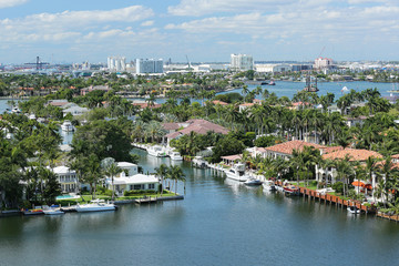 Aerial view of Fort Lauderdale's skyline, waterfront homes and the Intracoastal Waterway.