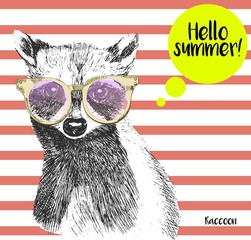 Vector close up portrait of raccoon wearing the sunglassess. Bright hello summer racoon portrait. Hand drawn wild mammal animal illustration. Isolated on background with peach echo strips.