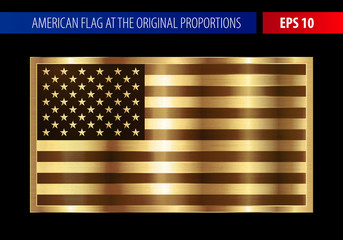 Gold American flag in a metallic frame. Metal texture glare on the flag. Realistic vector isolated. EPS 10.