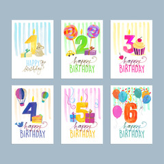 Set of birthday greeting cards. Hand drawn watercolor vector illustration concepts for website banners and print material.
