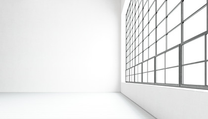 Empty modern meeting room huge panoramic windows,painted white wood floor,concrete blank walls.Generic design interior contemporary conference hall.Open space business idea.Horizontal.3D rendering.