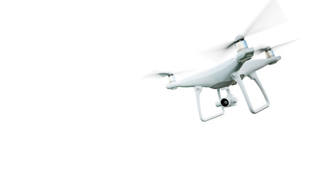 Picture Matte Generic Design Modern Remote Control Air Drone Flying with action camera. Isolated on Empty White Background. Horizontal . 3D rendering.