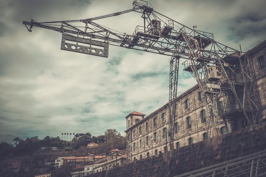 Old abandoned customs port on the Douro river, Porto, Portugal.