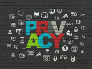 Privacy concept: Privacy on wall background