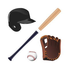 Items for baseball : the ball , glove , bat, helmet. A collectio