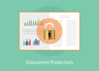 document paper protection with padlock sign syombol vector graphic