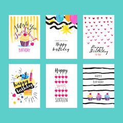 Set of hand drawn watercolor illustrations for birthday greeting cards, birthday party invitations, birthday website banners, birthday celebration material.