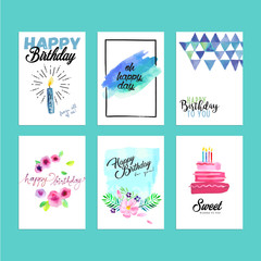 Collection of modern design birthday greeting cards. Hand drawn watercolor vector illustration concepts for website banners and print material.