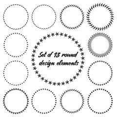 Set of 13 round design elements