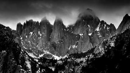 Foggy, Black and White View of Mt. Whitney from Whitney Portal Road, California