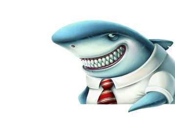 Illustration of business shark smiles slyly