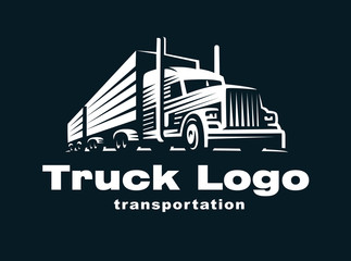 Truck logo illustration on dark background