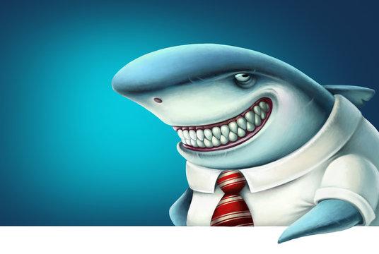 Illustration of business shark smiles slyly