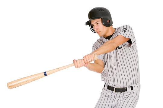 Baseball: Player Swinging Bat