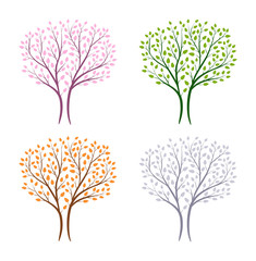 Set of winter,spring,summer and autumn tree