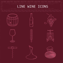 Wine and winemaking line icons set. isolated objects