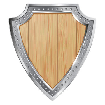 Wooden shield with metal frame. Heraldic emblem